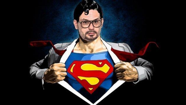 Disco Boy Gordon, Superman, offenes Jacket, Superman Shirt, Krawatte, Hand, Comic, Zeichnung