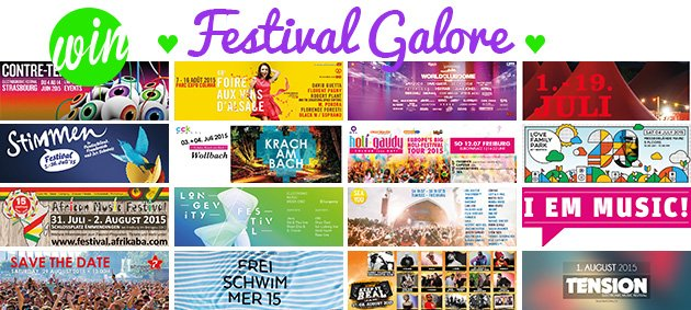 Win!, Festival Galore, Contre Temps, Foire aux Vins, World Club Dome, ZMF, Stimmen, Krach am Bach, Holi Gaudy, Love Family Park, African Music Festival, Longevity Festival, Sea You, I Em Music, Streetparade, Freischwimmer Open Air, Keep It Real Jam, Tension Festival
